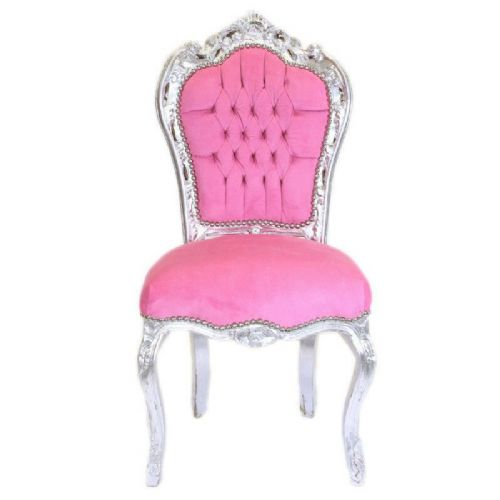 CHAIRS FRANCE BAROQUE STYLE DINING ROYAL CHAIR SILVER / PINK # 60ST5